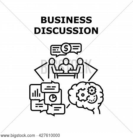 Business Discussion Deal Vector Icon Concept. Business Discussion Deal And Conversation Agreement Co