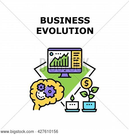 Business Evolution Develop Vector Icon Concept. Brain Thinking Process For Planning Strategy Of Busi