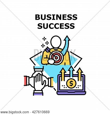 Business Success Vector Icon Concept. Business Success Goal Achievement And Earning Money In Interne