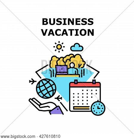 Business Vacation Relaxation Vector Icon Concept. Business Vacation Relaxation And Resorting Free Ti