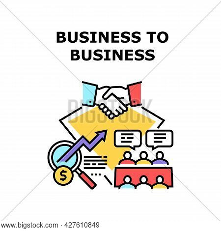B2b Business Vector Icon Concept. B2b Business Commerce And Partnership, Businessperson Conversation