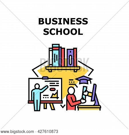 Business School Vector Icon Concept. Business School Educational Process For Study Businessman And M