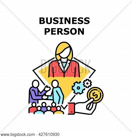 Business Person Vector Icon Concept. Businessman Talking And Conversation About Deal With Business P