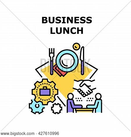 Business Lunch Vector Icon Concept. Entrepreneur Meeting At Business Lunch For Discussing About Agre