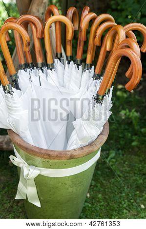 Storage with white Umbrellas