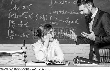 Conflict Situation. School Conflict. Demanding Lecturer. Teacher Strict Serious Bearded Man Having C