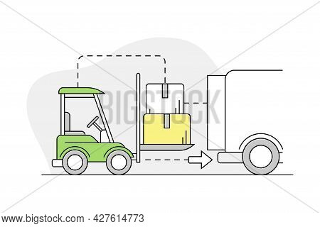 Furniture Buying With Lorry Loading With Packed Cardboard Box For Express Delivery Line Vector Illus