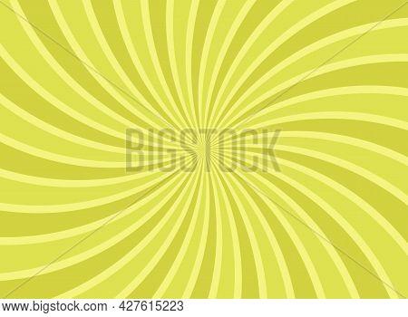 Sunlight Retro Horizontal Spiral Background. Green Color Burst Background. Vector Illustration. Sun