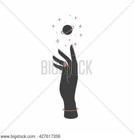 Mystical Celestial Planet Over Woman Hand. Spiritual Mystical Symbol For Branding Name Logo. Esoteri