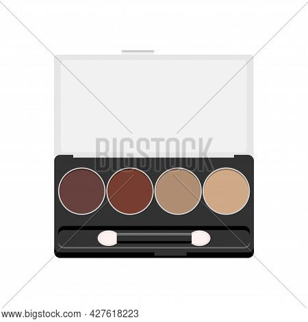 Vector Palette With Eye Shadows Open. Rectangle Eyeshadow Palette With Four Colors. Professional Eye