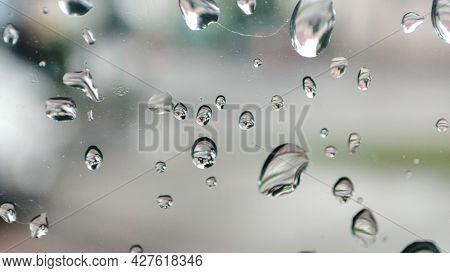 Rain Drops On Window. Bubbles On Glass. Window After Rain