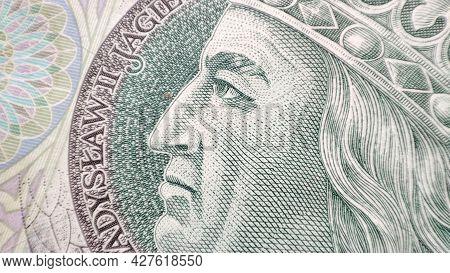 Macro Pln Polish 100 Zloty Banknotes Background. One Hundred Zloty Banknotes. Extreme Closeup Detail