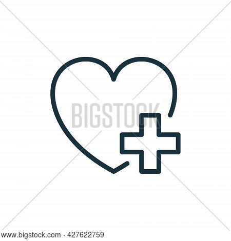 Heart With Plus Line Icon. Donation Concept. Charity And Humanitarian Aid Linear Pictogram. Healthca