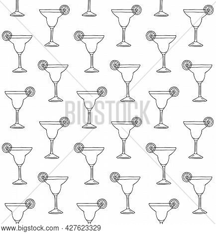 Vector Seamless Pattern Of Hand Drawn Doodle Sketch Margarita Cocktail Isolated On White Background