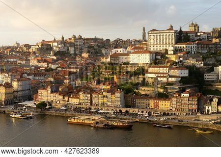 Porto, Portugal - November 30, 2019: Aerial View Of The City Of Porto At Sunset Since Luis I Bridge