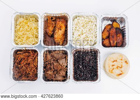 Top View Of Various Ingredients Used To Fill Arepas, A Typical South American Dish. Venezuelan And C
