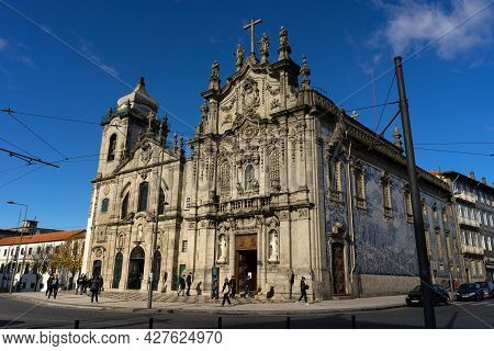 Porto, Portugal - December 01, 2019: Carmen And Carmelitas Churches With Blue And White Tiles In The
