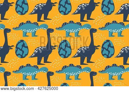 Seamless Pattern With Dinosaurs And An Egg. Stegosaurus And Tyrannosaurus Smile. Vector Illustration