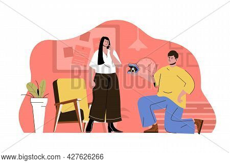 Marriage Proposal Concept. Kneeling Man Proposes Ring To His Beloved Woman Situation. Engagement, Re