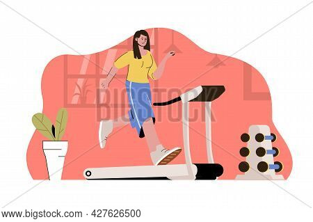 Morning Workout Concept. Woman Running On Treadmill In Gym Situation. Daily Fitness Routine, Cardio