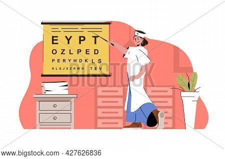 Optometrist Services Concept. Doctor Checks Visual Acuity, Prescribes Glasses Situation. Ophthalmolo