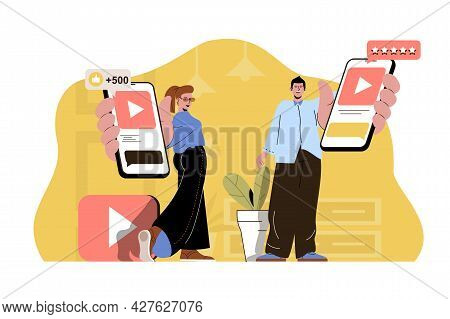 Popular Content Concept. Bloggers Hold Smartphones With Popular Videos Situation. Followers, Likes A