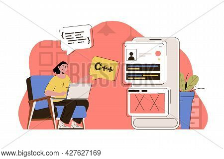 Programming Concept. Woman Working, Writing Code, Testing Program At Office Situation. Software Deve