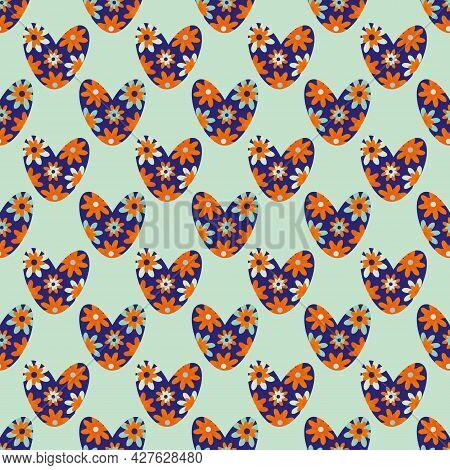 Seamless Colorful Love Heart Vector Pattern In Boho Style. Bright Flower Neon Orange Blue Indigo Hea