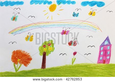 Children's drawing with butterflies and flowers