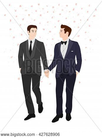 Vector Flat Doodle Illustration Of Two Men In Suits Holding Hands And Smiling At Each Other. Gay Wed