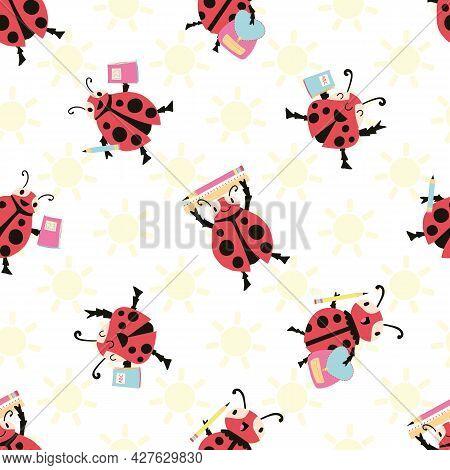 Ladybug Back To School Vector Seamless Pattern Background. Fun Cartoon Kawaii Ladybird Characters Wi