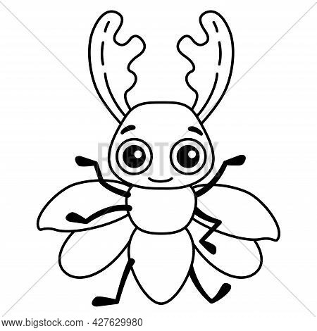 Coloring Insect For Children Coloring Book.funny Stag Beetle In A Cartoon Style