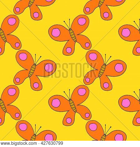 Cartoon Doodle Butterfly Seamless Pattern. Cute Abstract Background With Wild Insect. Summer Animal.