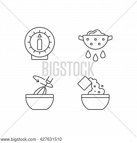Food Preparation Linear Icons Set. Itchen Timer. Drain Excess Water Or Oil. Stir With Whisk. Recipe