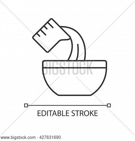 Pour Cooking Ingredient Linear Icon. Adding Liquid To Bowl. Baking Process Step. Add Mixture. Thin L
