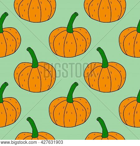 Cartoon Linear Doodle Retro Pumpkin Seamless Pattern. Abstract Background With Harvest.