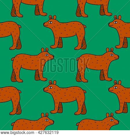 Cartoon Doodle Bear Seamless Pattern. Cute Background With Forest Animals.