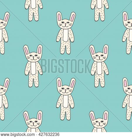 Cute Cartoon Bunny Seamless Pattern. Doodle Background With Funny Rabbits.