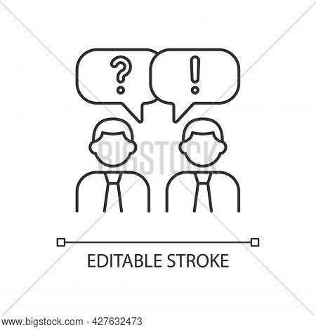 Communication Linear Icon. People Talking. Verbal And Nonverbal Communication. Small Talk. Thin Line