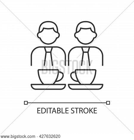 Common Breaks Linear Icon. Coworking During Coffee Break. Lunch Time Colleagues Conversation. Thin L