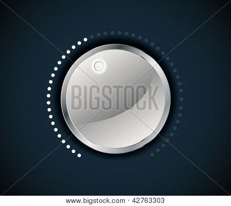 Volume button (music knob) with metal texture. Editable vector format in portfolio.