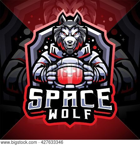 Space Wolf Esport Mascot Logo Design With Text