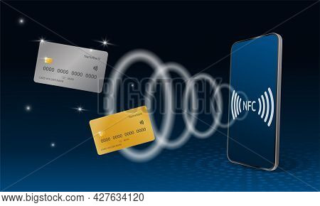 Concept Of Contactless Payment From A Smartphone Nfc. Online Internet Banking. Realistic 3d Vector.
