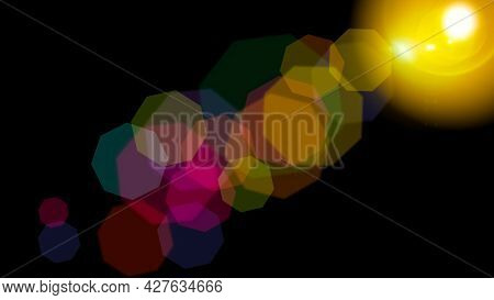 Optical Solar Light Lens Flare Effect Isolated On Black Background. Lens Flare Effects.