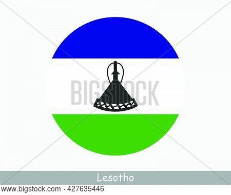 Lesotho Round Circle Flag. Mosotho Circular Button Banner Icon. Basotho Eps Vector