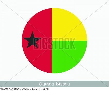 Guinea-bissau Round Circle Flag. Bissau-guinean Circular Button Banner Icon. Eps Vector