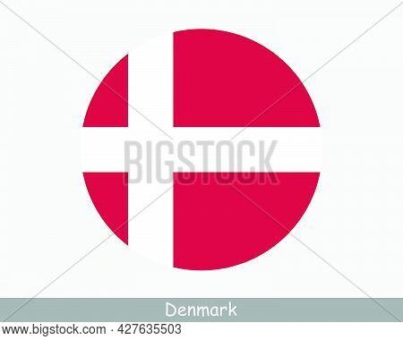 Denmark Round Circle Flag. Danish Circular Button Banner Icon. Dane Flag Eps Vector