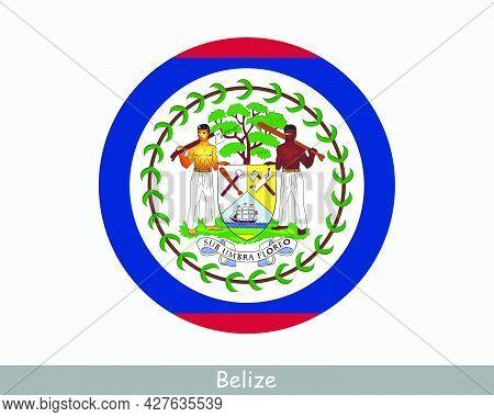 Belize Round Circle Flag. Belizean Circular Button Banner Icon. Eps Vector