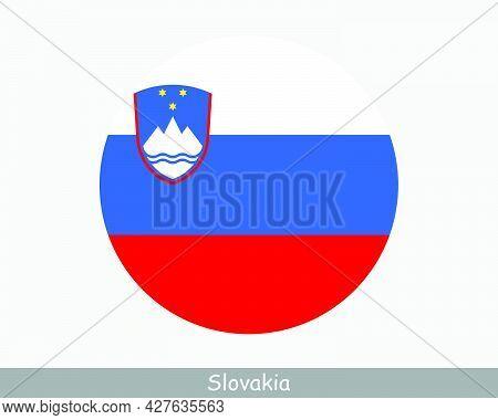 Slovenia Round Circle Flag. Slovene Circular Button Banner Icon. Eps Vector