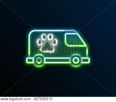 Glowing Neon Line Veterinary Ambulance Icon Isolated On Black Background. Veterinary Clinic Symbol.